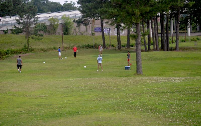 The Vindicator | Jerry Michalsky — Some FootGolfers take part at Hole No. 1 on Sunday afternoon in Humble Sportsplex.